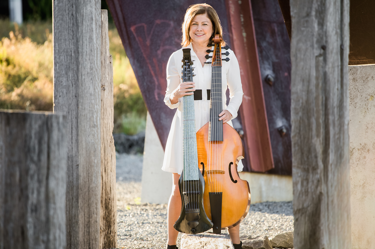 Jenny Eriksson with her electric and acoustic viola da gamba